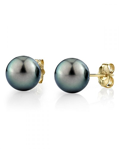 THE PEARL SOURCE 14K Gold 8-9mm AAAA Quality Round Green Tahitian South Sea Cultured Pearl Stud Earrings for Women