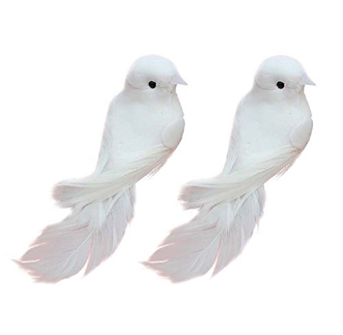 Yalulu 2Pcs Decorative Fake Doves Artificial Foam Feather White Birds With Magnet,Craft Bird For Home Ornaments,Wedding (Ornament Foam Craft)