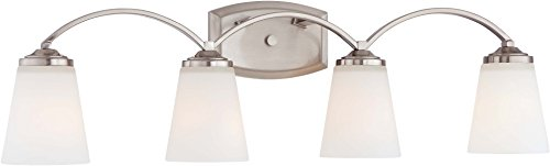 Minka Lavery Wall Light Fixtures 6964-84 Overland Park Glass Bath Vanity Lighting, 4 Light, Nickel