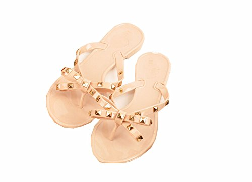 Women Flat Female Slippers Summer Shoes with Rivets Studded Bow Bowtie (8.5, Flesh (Cute Flat Sandals)