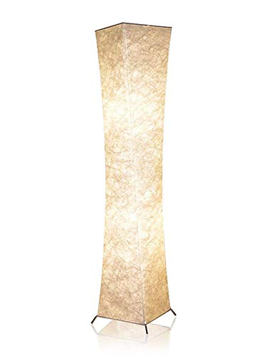 "52"" Fabric LED Floor Lamp, BI-LIGHT Softlighting Minimalist Modern Twisted Design Fabric Shade with 2 Bulbs Floor Lamps for Living Room Bedroom Home Office (Tyvek DuPont 10.2x10.2x52 Inch)"