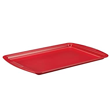 SilverStone Hybrid Ceramic Nonstick Bakeware, Steel Cookie Pan, 10-Inch x 15-Inch, Chili Red