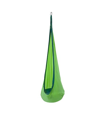 HugglePod Lite Indoor Outdoor Hanging Hammock Chair, Durable Lightweight Nylon with Reinforced Hanging Strap, Max Weight 175 LBS, 64 H x 24 W - Green ()