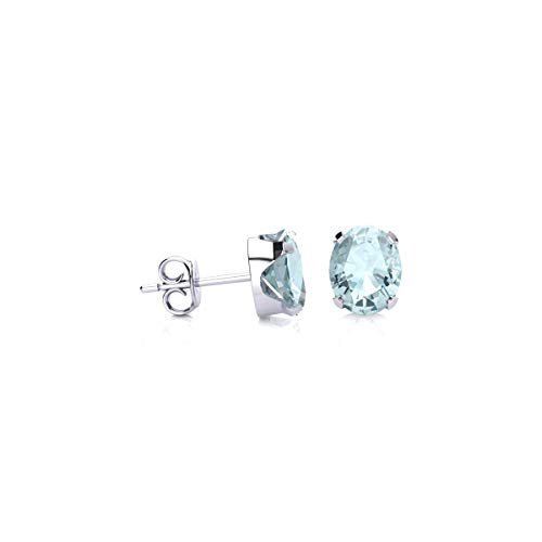3/4 Carat Oval Shape Aquamarine Stud Earrings in Sterling Silver