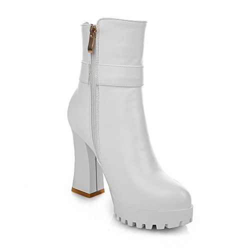 White Platform Chunky Leather Imitated Heels Chain 1TO9 Metal Buckle Womens Boots CXqwvSf