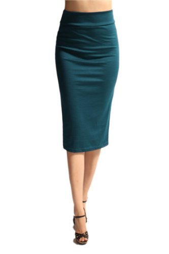 Azules Women's below the Knee Pencil Skirt - Made in USA