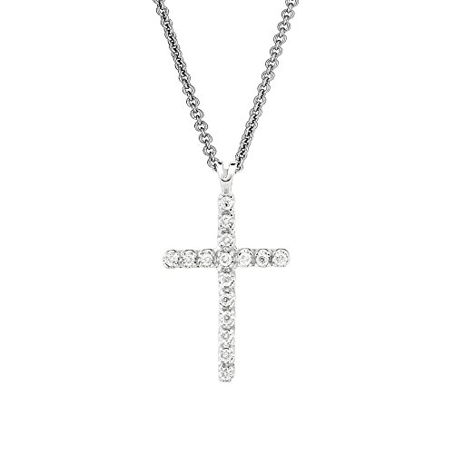 Ritastephens Sterling Silver & Diamond Cross Pendant Necklace 18 Inches 0.05ct