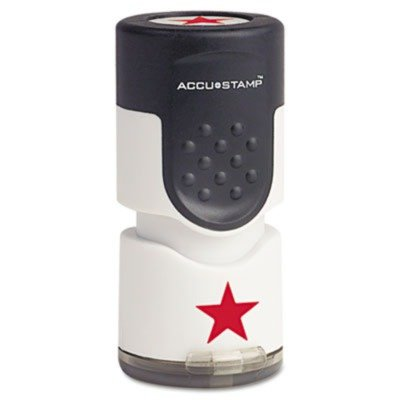 - ACCUSTAMPamp;reg; - Accustamp Pre-Inked Round Stamp with Microban, Star, 5/8amp;quot; dia., Red - Sold As 1 Each - Built-in Microban antimicrobial protection inhibits the growth of stain and odor causing bacteria.