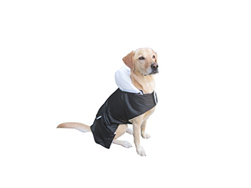 Resistant Blanket Water Dog - Dog Coat. Winter Rain Dog Blanket. ON SALE. Ultra-Lightweight Water Resistant Black Nylon/White Coral Valet Lining, Removable Hood, Velcro Straps/Extension Included. PLEASE MEASURE BEFORE PURCHASE