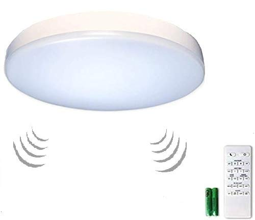 "Premium 14"" Flush Mount LED Ceiling Light Fixture with Motion Sensor, Remote Control & Timer - Dimmable & Adjustable Light Color (Warm 2700K-5000K Cool) - Bedroom, Dining Room, Bathroom and Closet"