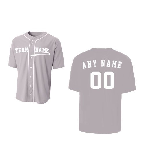 A4 Sportswear Grey Adult Medium (CUSTOM Front and/or Back) Full-Button Baseball Wicking Jersey by A4 Sportswear