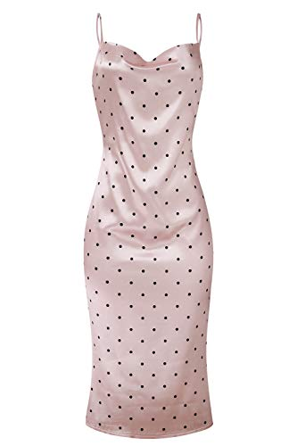 Linsery Women's Elegant Satin Spaghetti Strap Low Neck Polka Dot Cocktail Midi Dress Pink S