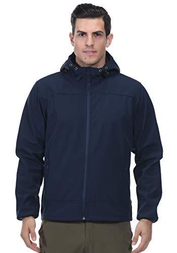(MIER Men's Water Resistant Tactical Jacket Lightweight Soft Shell Jacket Coat with Hood, Fleece Lined, Front Zip, Navy Blue, L)
