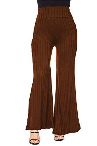 COCOLEGGINGS Ladies Fold Over Waist Ribbed Knit 70s Flare Pants Brown L ()