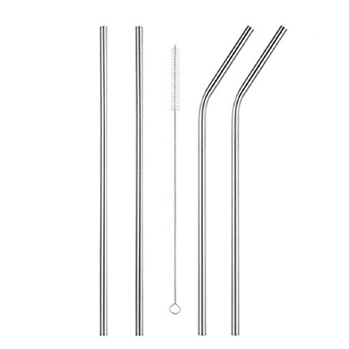 Lookatool Long Stainless Steel Drinking Straws 20 Oz/30 Oz Cups + Cleaning Brush (4, Silver)