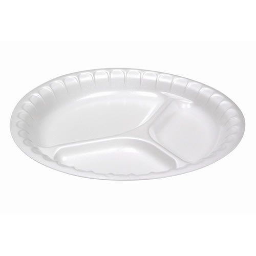 125 PACK 9-inch 3 Compartment Heavy Duty White Foam Plates