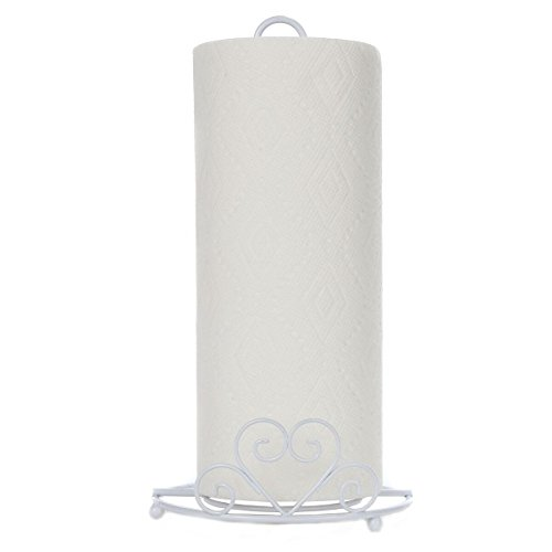 Trenton Gifts Paper Towel Holder With Scrolled Heart Design - White