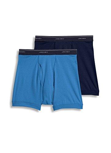 Jockey Men's Underwear Big Man Classic Boxer Brief - 2 Pack, true blue/indigo dye, 3XL