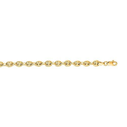 IcedTime 14K Yellow Gold 4.5mm wide Diamond Cut Puffed Mariner Link Chain 10