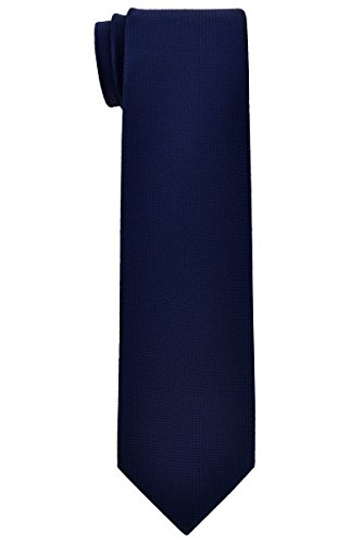 Retreez Solid Plain Color with Square Textured Woven Microfiber Boy's Tie (8-10 years) - Navy Blue by Retreez