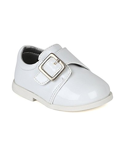 Leatherette Buckle Strap Dress Church Shoe (Infant/Baby Boy) AH59 - White (Size: Toddler 5)