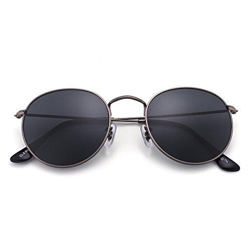 cbddbd2540edc2 Lunettes de Soleil Rétro Ronde Miroir Classique Lunette Solaire Steampunk  Glasses Verre Réfléchissant pour Homme Femme