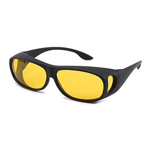 HD VISION UNIEX FITOVERGLASSES SUNGLASSES WITN POLARIZED LENSE FOR MAN AND WOMEN (Night vision yellow lens+black ()