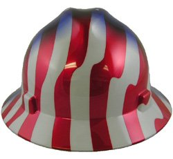 Full Graphics Hard Hat - MSA (Mine Safety Appliances) 10071157 V-Gard Freedom Series Class E Type I Hard Hat with Fast-Track Suspension and American Stars and Stripes