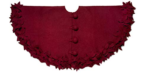 Arcadia Home (ARD4L) Hand Felted Wool - Overlapping Flowers Border Christmas Tree Skirt, 60