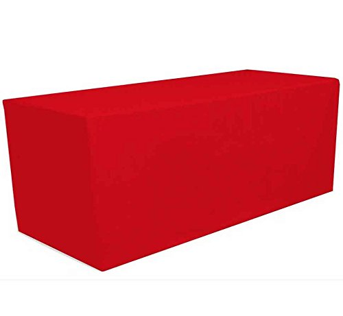 (GWHome 4 ft x 2.5 ft Fitted Polyester Tablecloth Rectangular Table Cover Wedding Banquet Party (Red, 4 ft x 2.5 ft))