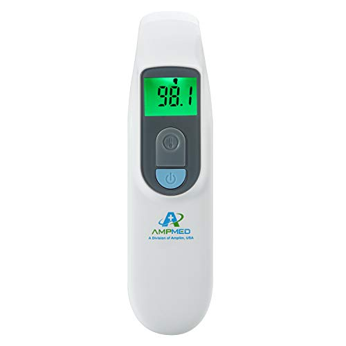 Amplim Medical Grade Noncontact Digital Infrared Forehead Thermometer for Baby and Adult, 1701AE1, Blue White