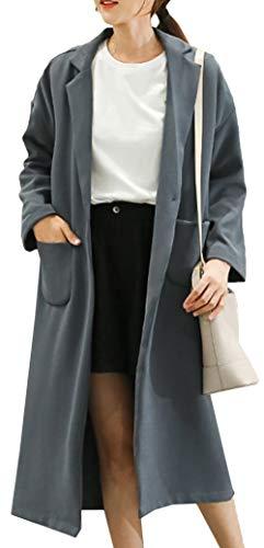 Lungo Risvolto Medio Transizione Cappotto Snone Moda Unita Temperamento Semplice Giacca Tinta E Inverno Caldo Con Donna Blu Tasca Trench Sezione Autunno xqS1FqY