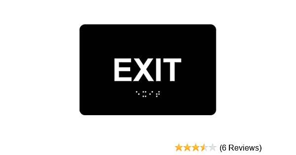 Exit Sign, ADA-Compliant Braille and Raised Letters, 6x4 inch White on Black Acrylic with Adhesive Mounting Strips by ComplianceSigns