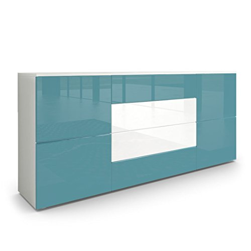Vladon Sideboard Kommode Rova Korpus In Weiss Matt Fronten In Petrol