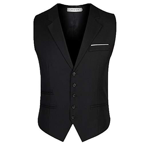 Gentleman Business Black Slim Senza Qscg Maniche Casual Vintage Da Sposa Nero Gilet Cerimonia Uomo xUTAIq