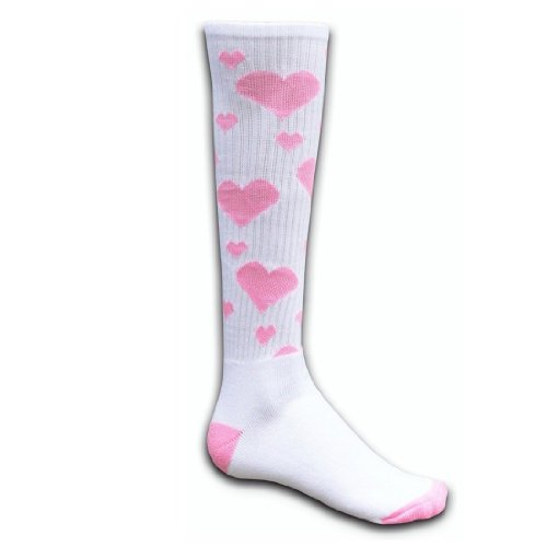 Red Lion Hearts Knee High Socks ( White / Pale Pink - Small ) (Pink Heart Socks White)