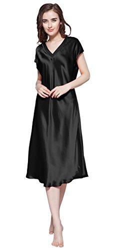 LILYSILK Women's 100 Silk Nightgown Long V Neck 22 Momme Pure Mulberry Silk Nightdress Black Size 12/L by LilySilk