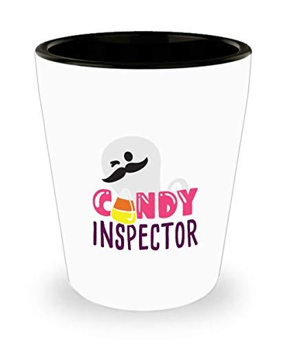 Halloween Candy Corn Inspector Ghost Shot Glass -