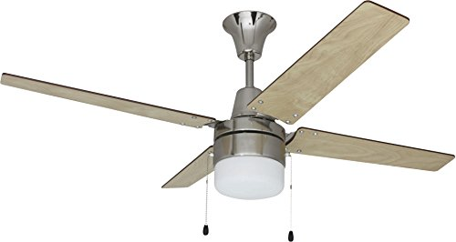 Litex E-UBW48BC4C1 Wakefield Collection 48-Inch Ceiling Fan with Five Reversible Ash/Wenge Wood Blades and Single Light Kit with frosted - Wood Wenge Finish