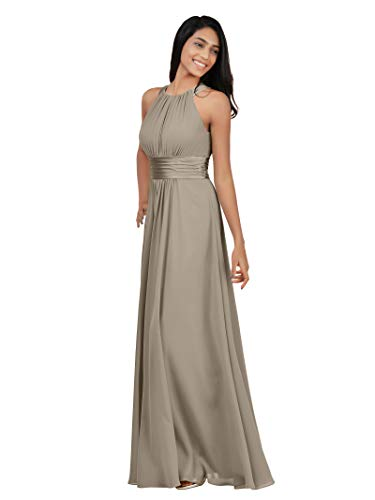 (Alicepub Sleeveless Bridesmaid Dresses Long for Women Formal Elegant Halter Evening Dresses for Weddings Empire Maxi Party Prom Gown, Taupe,)