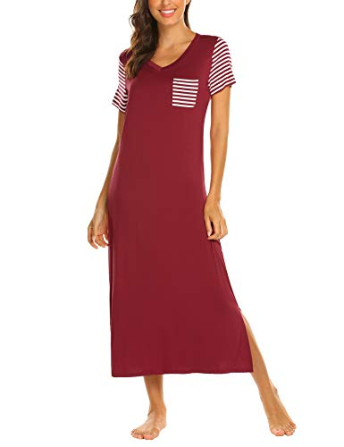 Hotouch Women's Long Sleepwear Modal Striped Nightshirt Dark Red - Shorts Length Calf