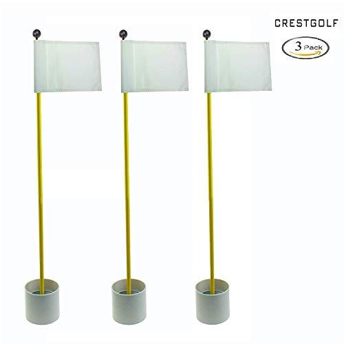 Crestgolf 3Sets Backyard Practice Golf Hole Pole Cup Flag Stick, 3 Section,Golf Putting Green Flagstick (White) ()