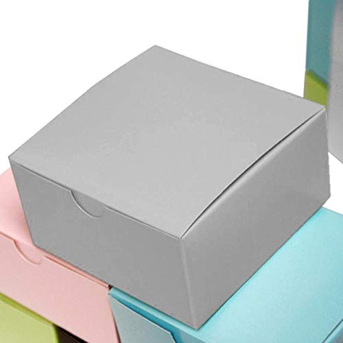 BalsaCircle 100 4 x 4 x 2 Silver Cake Wedding Favors Boxes with Tuck Top for Wedding Party Birthday Candy Gifts Decorations -