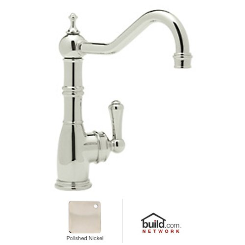 (Rohl U.4741PN-2 Perrin & Rowe Single Hole Single Lever Aquitaine Kitchen Faucet, Polished Nickel)