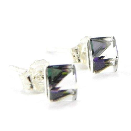"""BO Argent """"Cubes de Cristal"""" violet 4 mm"""