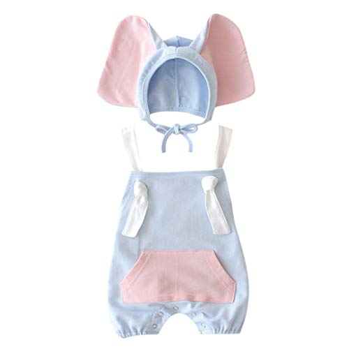 LiLiMeng 2019 New Baby Girl Boy Kid Sleeveless Short Sleeve Romper+Cartoon Elephant Hat Costume Outfits Set with Pocket Blue