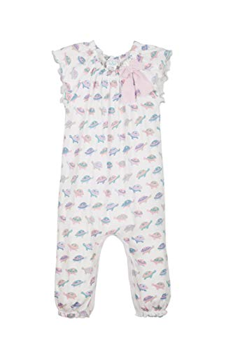Feather Baby Girls Clothes Pima Cotton Short Sleeve Bow One-Piece Jumpsuit Baby Romper (3-6 Months, Turtles on White) ()