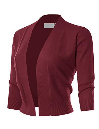 - MAYSIX APPAREL 3/4 Sleeve Solid Open Bolero Cropped Cardigan for Women BURGUNDY2 1XL