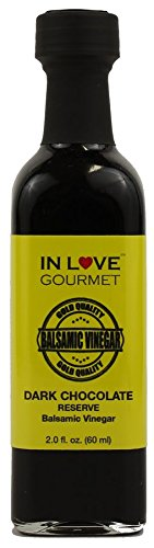 In Love Gourmet Dark Chocolate RESERVE Balsamic Vinegar 60ml/2oz (Sample Size) Great for Fruit Fondues, Chocolate Desserts, and Pastries, Chocolate Glaze for Grilled Steaks, YUM (Caramel Fondue)