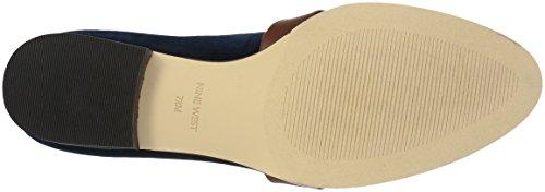 Nine West Women's Huff Loafer Flat Navy/Cognac Fabric GozciKS